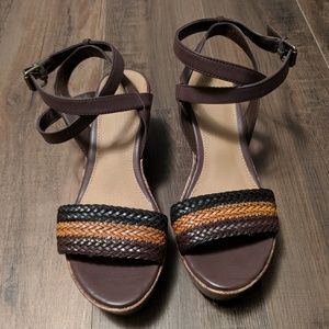 NWOT Mossimo Strappy Braided Leather Wedge Sandals
